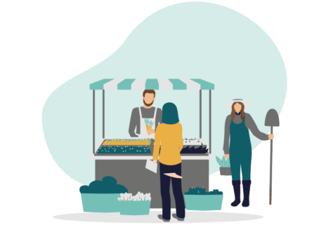 Three people in a market