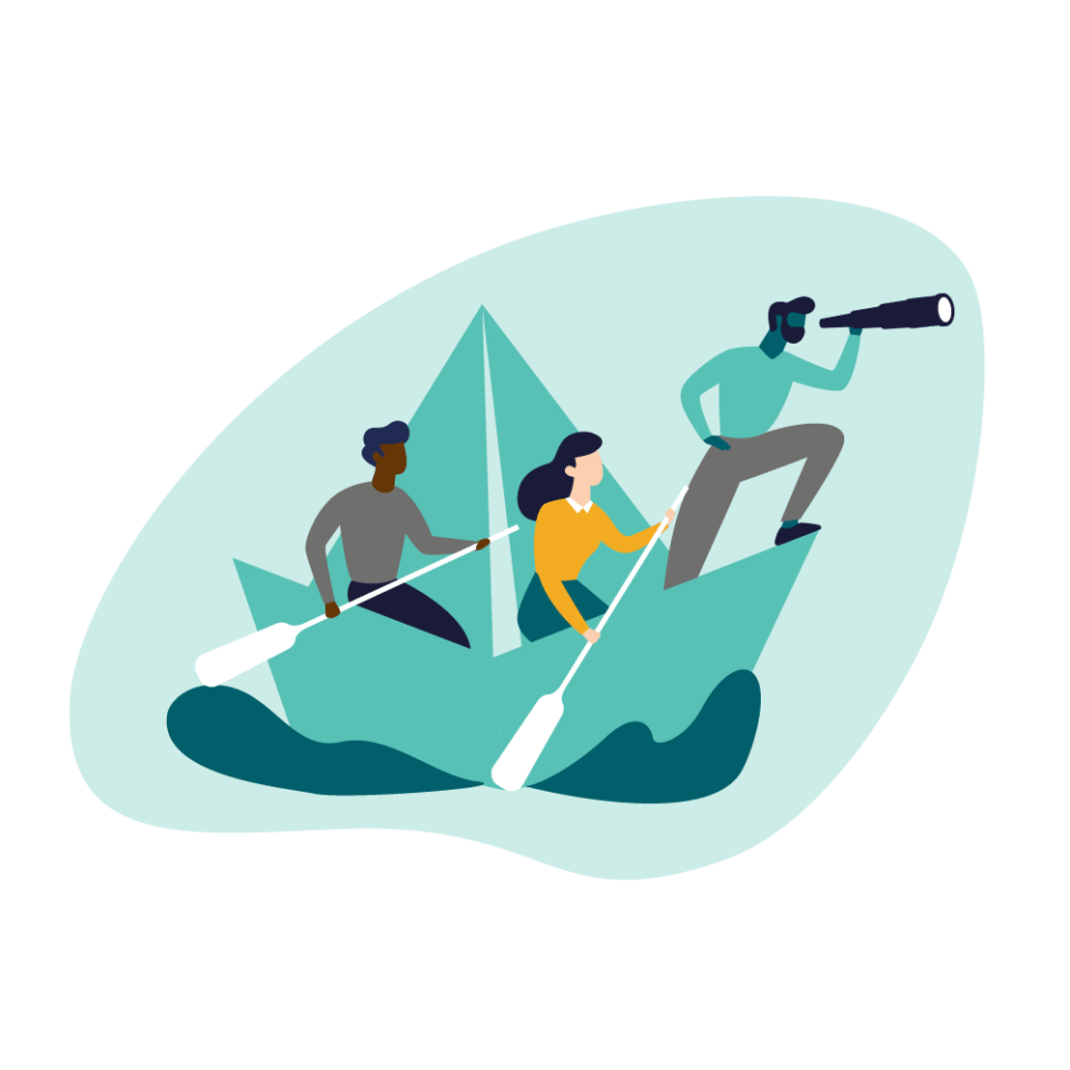Three people sailing in a boat