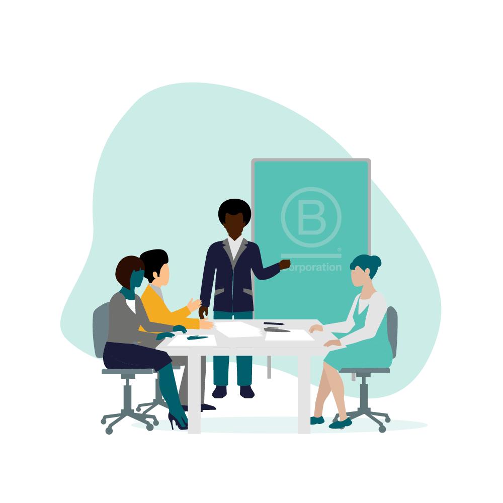 Four people in a meeting