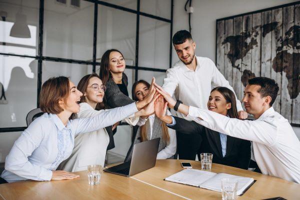 People bonding in workspace